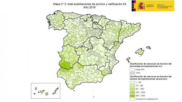 Clasificación de comarcas en función del porcentaje de explotaciones oficialmente indemnes para la enfermedad (A4).