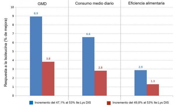 Figura 2: Respuesta de los lechones a distintos incrementos del ratio Ile/Lys DIS. Fuente: Ajinomoto Animal Nutrition Europe