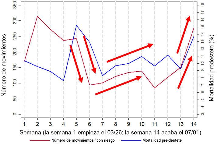 """Figura 2. Gráfico que muestra la relación entre la mortalidad pre-destete y el número de movimientos """"de riesgo"""" (definidos como movimientos hacia/desde los muelles de carga y/o destetes). Estos datos son un subconjunto de los datos recogidos durante 14 semanas en una de las granjas analizadas, la granja 3."""