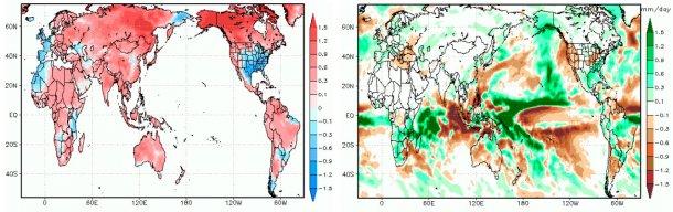 Gráfico 1: En estos dos mapas podemos encontrar el pronóstico de anomalías en la temperatura y las lluvias durante el mes de octubre. (Fuente: GrADS/COLA).