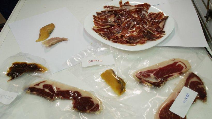 Diferentes muestras de jamón listas para ser analizadas.