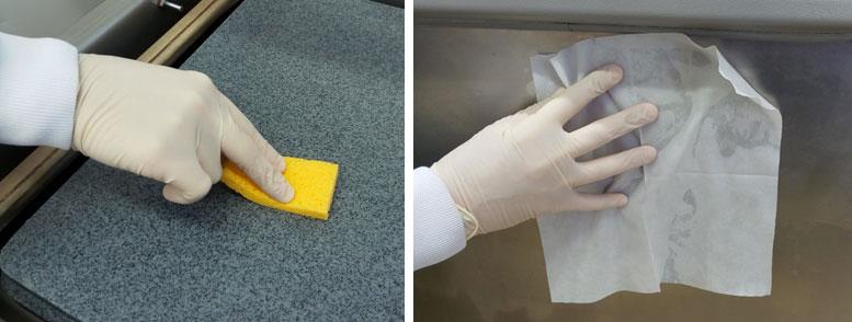 Figura 1. Muestreo de superficies con esponja y toallita