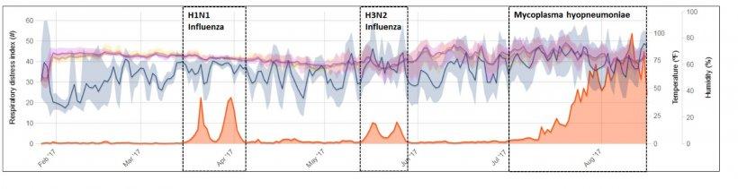 Figura 2: Ejemplo de monitorización continua de toses en un cebadero con episodios clínicos de influenza y Micoplasma. Fuente: Polson et al. 2018.