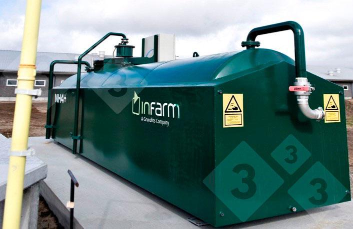 Figura 2. Tanque de almacén de ácido en una granja de cerdos en Dinamarca, que acidifica los purines en los fosos de las naves y el almacén exterior de forma controlada y automática.