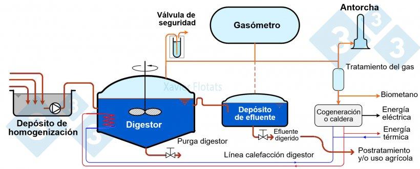 Figura 1. Esquema general de una planta de digestión anaerobia.