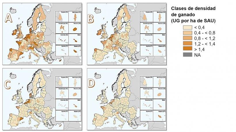 Densidad de ganado en la Unión Europea en 2016 para: (a) todo el ganado, (b)bovino, (c) porcinoy (d) aves de corral. Estimado dividiendo el número de unidades de ganado por la superficie agrícola utilizada (SAU) dentro de cada región NUTS 2. Fuente: Eurostat, marzo de 2020; mapas creados por Matteo Sposato, SRUC.