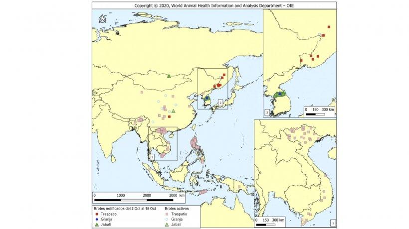 Brotes notificados de PPA dentro del período (colores de mayor intensidad) y brotes activos (colores de intensidad más clara). Fuente: OIE.