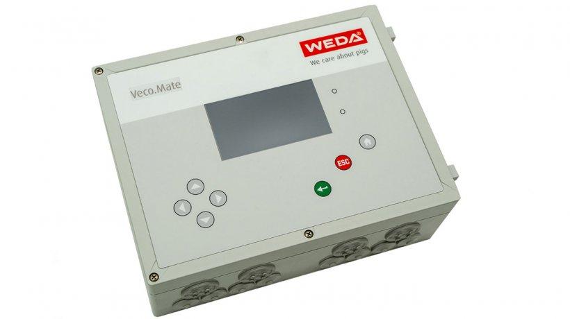 El regulador climático Veco.Mate ofrece numerosas posibilidades de conexión para efectuar la lectura de datos de sensores, sondas y ventiladores de medición para instalar y regular compuertas, ventiladores, calentadores o válvulas de entrada de aire.