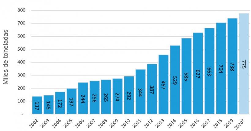 Gráfico Nº1. Evolución de la producción 2002/20. Fuente: Datos del MAGyP y propios – Año 2020 datos proyectados.