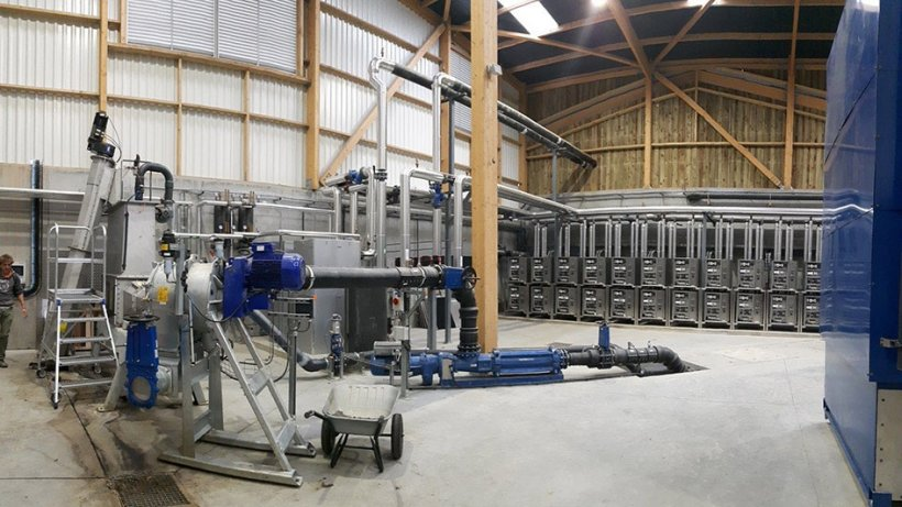 The technical equipment has been put together individually for the AD plant. Heat pumps (rear) ensure efficient use of waste heat and the MULTIMix (front left) shreds the substrates in advance.