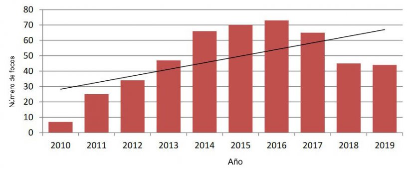 Focos  de trichinellosis  registradossegún  año  de  notificación.  Argentina-Total  país. Periodo 2010-2019 N=476 Fuente: elaboración propia–SENASA