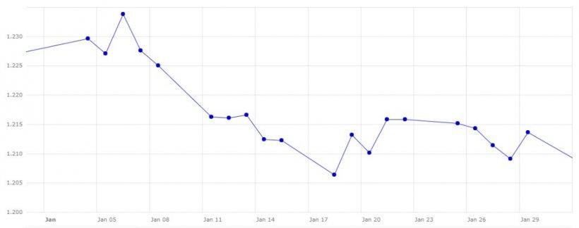 Gráfico 3. Evolución del cambio euro/dólar en el mes de enero (fuente: Banco Central Europeo).