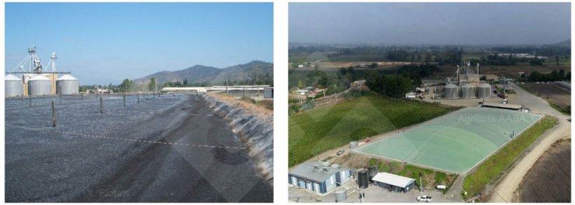 Balsa de purines antes y después de ser cubierta para evitar emisiones de NH3 y recuperar CH4 para su uso energético. Fotos del autor (izquierda) y de Agrícola AASA, Chile (derecha).