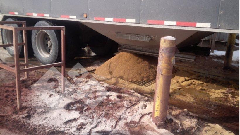 Imagen 2. Ejemplo de recepción de ingredientes a granel con alto potencial de contaminación. Norteamérica.
