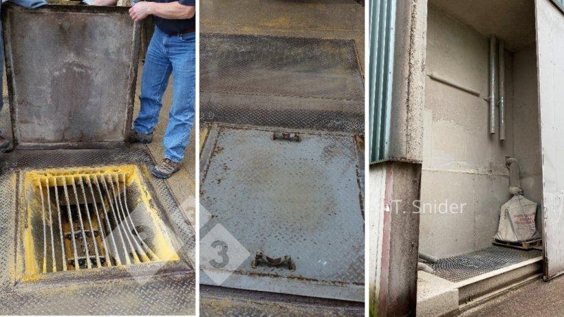 Imagen 3. Ejemplos de sistemas que protegen las ubicaciones de recepción de ingredientes de la contaminación cuando no están en uso. América del Norte y Europa