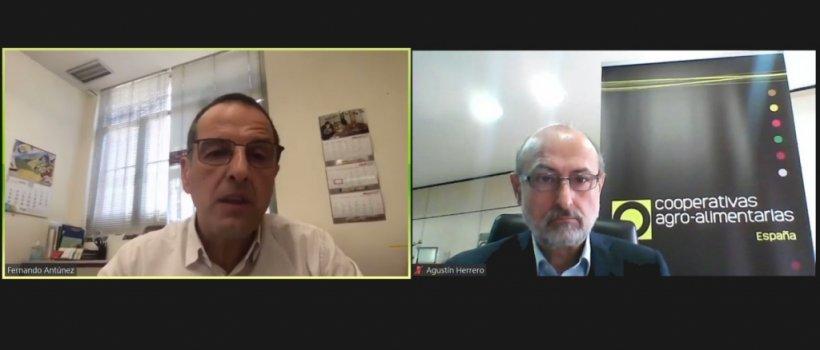 El presidente de CESFAC, Fernando Antúnez (izquierda) y el director de Cooperativas Agro-alimentarias de España, Agustín Herrero (derecha) durante el seminario web en el que se ha presentado el MIRAT del sector para la fabricación de piensos y pre-mezclas para la alimentación animal.