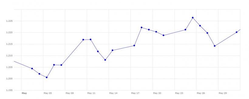 Gráfico 3. Evolución del cambio euro/dólar en el mes de mayo. Fuente: Banco Central Europeo.