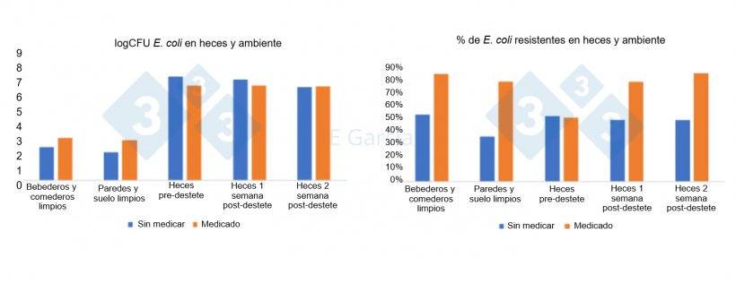 Figura 2. Niveles de E. coli y porcentaje de resistencias en bebederos, comederos, suelo, paredes y heces en granjas que usan o no antibióticos y óxido de zinc en el pienso.