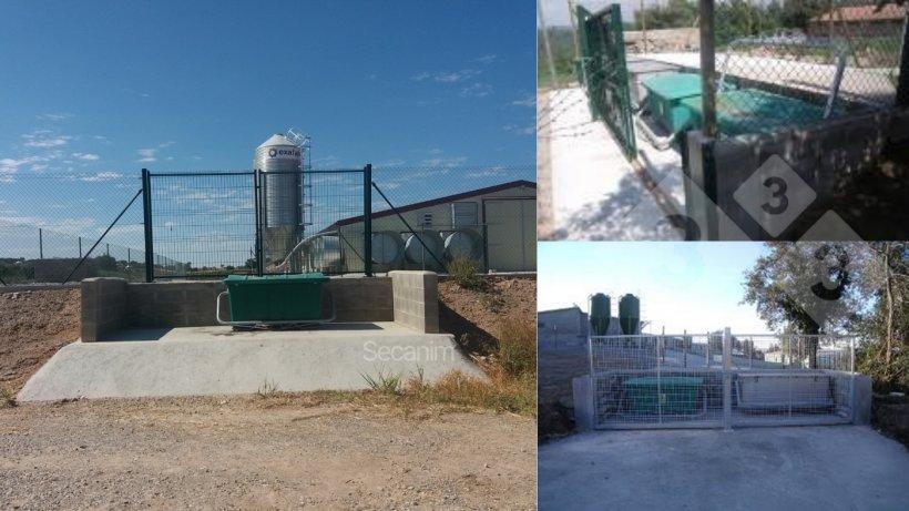 Imagen 1-3. Ejemplos de contenedores de recogida en granjas con barreras físicas para asegurar una clara separación entre la zona limpia y sucia. Cortesía de Secanim (España).