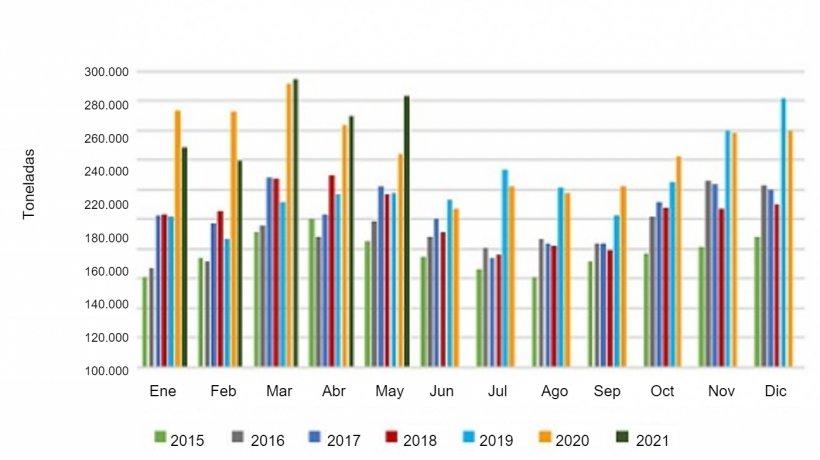 Volumen mensual de exportaciones de carne de cerdo. Fuente: USMEF.