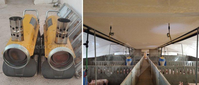Foto 5 y 6: Colocación de manta térmica y cañones.