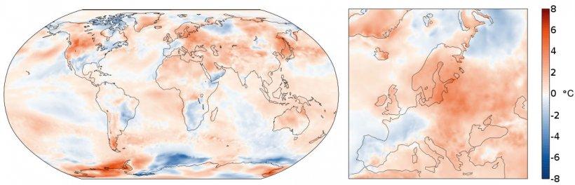 Figura 2. Anomalía de la temperatura del aire en julio de 2021 en relación al período 1991-2020 .(Fuente: Copernicus Climate Change Service/ECMWF)