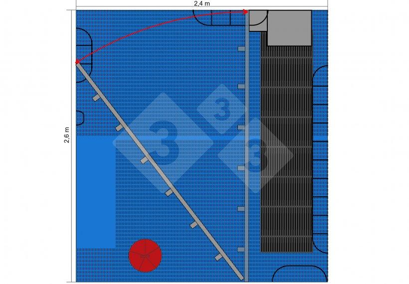 Figura 5. Plano del corral con la valla cerrada o abierta, dejando libertad a la cerda y creando un espacio triangular exlusivo para los lechones.