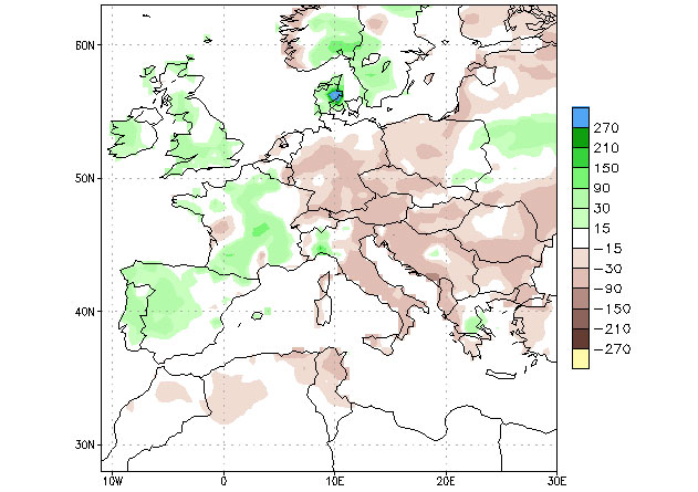 Mapa 1. Anomalías en las precipitaciones, 5 sep-4 oct. Fuente: Climate Prediction Center – NOOA. CPC Unified (gauge-based & 0,5x0,5 deg resolution). Precipitation Analysis Climatology (1991-2020)
