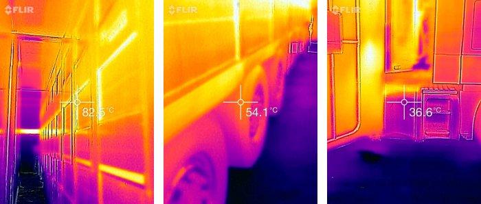 La foto térmica de la izquierda demuestra la temperatura externa de 82,5 ºC que alcanza la parte externa de la caja de un camión de 3 pisos, de 14 mts de largo. La foto central y la derecha demuestran que la temperatura en las ruedas traseras y el tanque de combustible, la cabina no superan los 55ºC. Garantizando la inocuidad del proceso.
