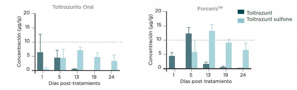 Figura 3. Concentraciones (media + DE) de totaltruzrilo y toltrazurilo sulfona en el yeyuno tras la adminsitración de una sola dosis de ForcerisTM o Baycox 5% a lechones
