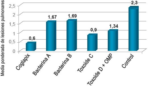Gráfico 4. Media ponderada de lesiones pulmonares.