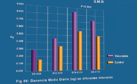 Ganancia media diaria (kg) en diferentes intervalos
