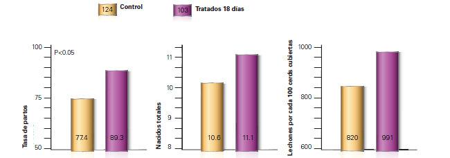 Resultados productivos del uso de Regumate en cerdas
